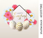 happy easter background with... | Shutterstock .eps vector #601057082