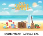 bright summer sea beach with... | Shutterstock .eps vector #601061126