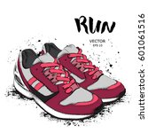 hand drawn sneakers on white... | Shutterstock .eps vector #601061516