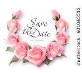 realistic rose wreath. delicate ... | Shutterstock .eps vector #601065512