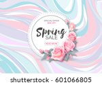 Stock vector spring sale vector banner design with flowers and frame pink roses on marble background 601066805