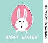 happy easter. bunny rabbit hare ... | Shutterstock .eps vector #601068482