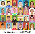 portraits of people of... | Shutterstock .eps vector #601078892