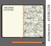 vector notebooks with pencil...   Shutterstock .eps vector #601081238