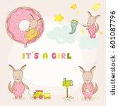 cute girl kangaroo set for baby ... | Shutterstock .eps vector #601087796