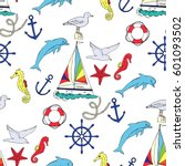 nautical seamless pattern with... | Shutterstock . vector #601093502