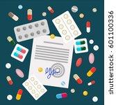 scattered pills with drug...   Shutterstock .eps vector #601100336