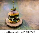 tasty grilled beef burger with... | Shutterstock . vector #601100996