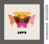 retro poster with butterflies... | Shutterstock .eps vector #601103396
