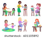 mothers feeds little children... | Shutterstock .eps vector #601105892