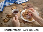 woman hands with tea cup and... | Shutterstock . vector #601108928