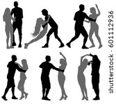 black set silhouettes dancing... | Shutterstock .eps vector #601112936
