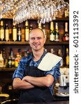 portrait of cheerful barman... | Shutterstock . vector #601113392