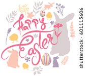 happy easter wish pastel colors.... | Shutterstock .eps vector #601115606
