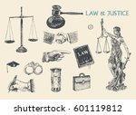 law  justice and police set.... | Shutterstock .eps vector #601119812