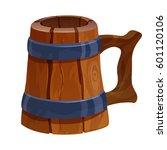empty wooden beer mug. vector... | Shutterstock .eps vector #601120106