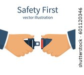 seat belt. safety first concept.... | Shutterstock .eps vector #601120346
