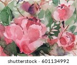 watercolor floral design for... | Shutterstock . vector #601134992
