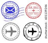 mail stamps for envelopes.... | Shutterstock .eps vector #601139246
