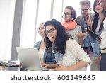 group of cheerful... | Shutterstock . vector #601149665