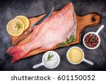 fish raw snapper with lemon... | Shutterstock . vector #601150052