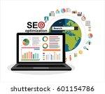 flat illustration web analytics ... | Shutterstock .eps vector #601154786