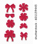 collection of red ribbons. | Shutterstock .eps vector #601159445