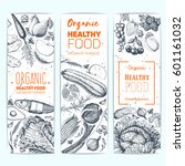 healthy food banner set.... | Shutterstock .eps vector #601161032