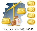 libra and funny cat. currency... | Shutterstock .eps vector #601168355