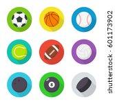 sports balls set. flat  cartoon ... | Shutterstock .eps vector #601173902