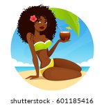 sexy cartoon african american... | Shutterstock .eps vector #601185416