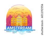 amsterdam   modern vector line... | Shutterstock .eps vector #601192556