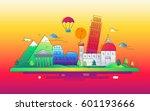 italy   modern vector line... | Shutterstock .eps vector #601193666