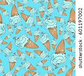 ice cream seamless pattern... | Shutterstock .eps vector #601197002