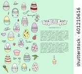 hand drawn doodle easter icons... | Shutterstock .eps vector #601210616