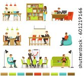 coworking workplace ... | Shutterstock .eps vector #601219166