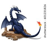 fire black dragon cartoon... | Shutterstock . vector #601231826