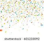 colorful confetti falling... | Shutterstock .eps vector #601233092