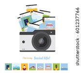 social concept  camera and the... | Shutterstock .eps vector #601237766