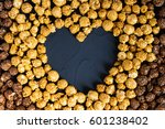 chocolate caramel popcorn with... | Shutterstock . vector #601238402