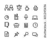 business and office set icons... | Shutterstock .eps vector #601245656