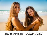 best friends having fun on the... | Shutterstock . vector #601247252
