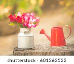 colorful and fresh roses in... | Shutterstock . vector #601262522