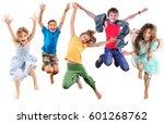 group of barefeet children... | Shutterstock . vector #601268762