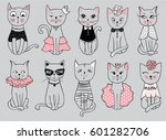 Stock vector big vector series with cute fashion cats stylish kitten set trendy illustration in sketch style 601282706
