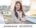 fashion girl with a beautiful... | Shutterstock . vector #601290542