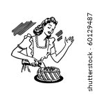 woman decorating cake   retro... | Shutterstock .eps vector #60129487