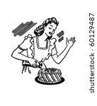 woman decorating cake   retro... | Shutterstock .eps vector #60129487