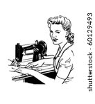 Woman Sewing   Retro Clip Art