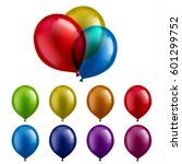 transparent colorful balloons | Shutterstock .eps vector #601299752